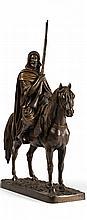 Arab Horsemen - إ. فيجوير (فرنسي، القرن 20) مجسم لرجل عربي يمتطي حصان ومصنوع من البرونز