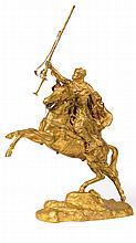 Arabian Rider with his Rifle, 1897 - جان بابتيست بِلوك (فرنسي، 1919 - 1863) مجسم من البونز المذهب لمحارب عربي يمتطي حصان مع بندقيته