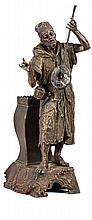 The Guembri Player - المدرسة النمساوية (القرن 20) مجسم مطلي بعدة ألوان لمزهرية وعازف آلة الكمبري