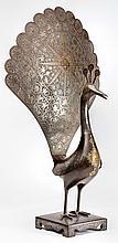 A Qajar Steel Peacock, Iran 19th Century - مجسم طاووس مصنوع من الفولاذ المطعم بالذهب، الفترة القاجارية، إيران القرن 19