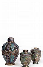 Set of Syrian Enameled Copper Vases, 19th Century - طقم مزهريات مصنوعة من النحاس المطعم بالمينا الملونة، الهند القرن 19