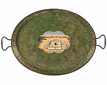 Painted Metal Tray with Depiction of Masjid al-Haram in Mecca, 20th Century - مشهد للحرم المكي مجسد على صينية من المعدن المطلي