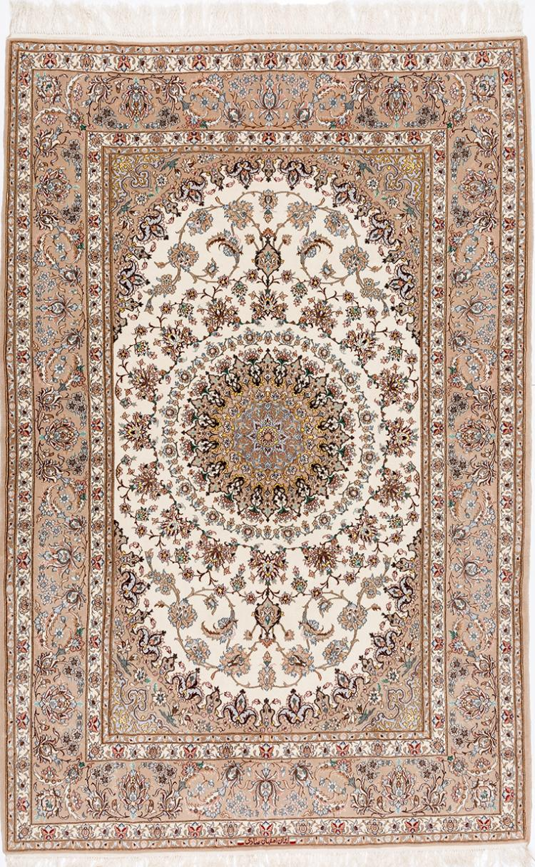 AN ISFAHAN EMADI WOOL CARPET WITH IVORY GROUND
