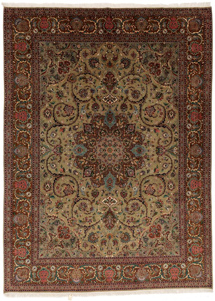 A TABRIZ OLIVE GREEN PURE WOOL CARPET