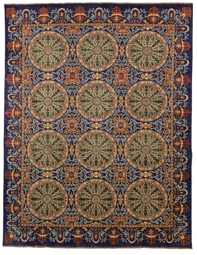 AN UZBEK SUZANI RUG NATURALLY DYED WITH INDIGO BLUE AND MADDAR RED