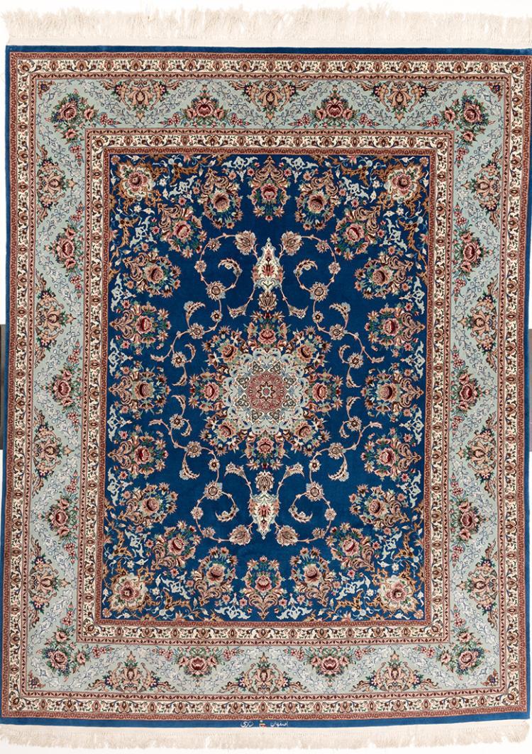 A LATE 20TH CENTURY ROYAL BLUE ISFAHAN DURRI CARPET