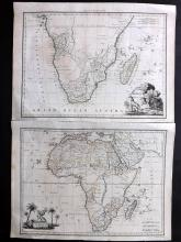 Africa - Continent & South 1812 Pair of Maps by Malte-Brun