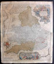 Homann, Johann Baptist C1730 Hand Coloured Map of England & Wales