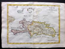 Le Rouge, George Louis 1748 Hand Coloured Map of Dominica, Haiti, Caribbean