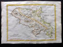 Le Rouge, George Louis 1748 Hand Coloured Map of Martinique, Caribbean