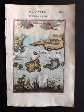 Mallet, Alain Manesson 1683 Hand Coloured Map of Ikaria & Patmos, Greece
