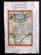 Mallet, Alain Manesson 1683 Hand Coloured Map of Mogul Empire, India