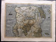 Mercator, Gerard & Hondius, Jodocus C1600 Hand Coloured Map of Northern Ireland, Sea Monster