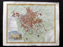 Rome - Italy C1840 Hand Coloured City Plan by J. Dower
