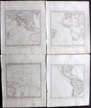 SDUK - World, Oceans 1830's Group of 4 Maps.