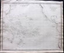 SDUK 1830's Map of The Pacific Ocean, Australia, Hawaii, West Coats USA