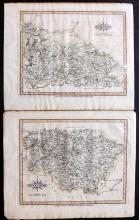 Yorkshire - Laurie & Whittle 1807 Pair of Hand Coloured Maps. West Riding