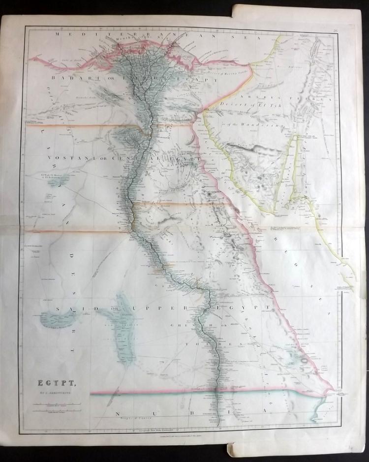 Arrowsmith, John 1840's Large Map of Egypt