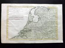 Bonne, Rigobert 1780 Hand Coloured Map of Holland Netherlands