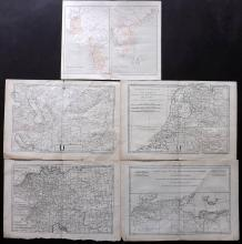 Bonne, Rigobert C1780 Group of 4 Maps, plus Map of India