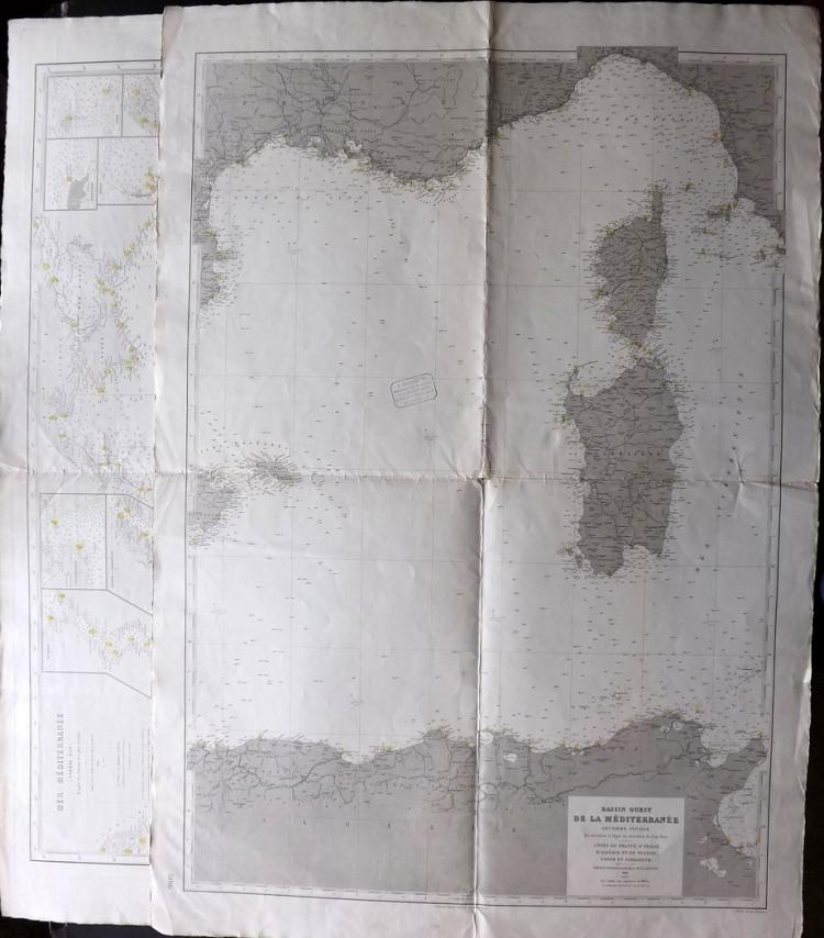 Depot de la Marine 1896-1900 Pair of Nautical Charts of Mediterranean. Corsica, Sardinia, Greece, Italy