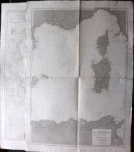Depot de la Marine 1896-1900 Pair of Nautical Charts of Mediterranean. Corsica, Sardinia, Greece, Italy