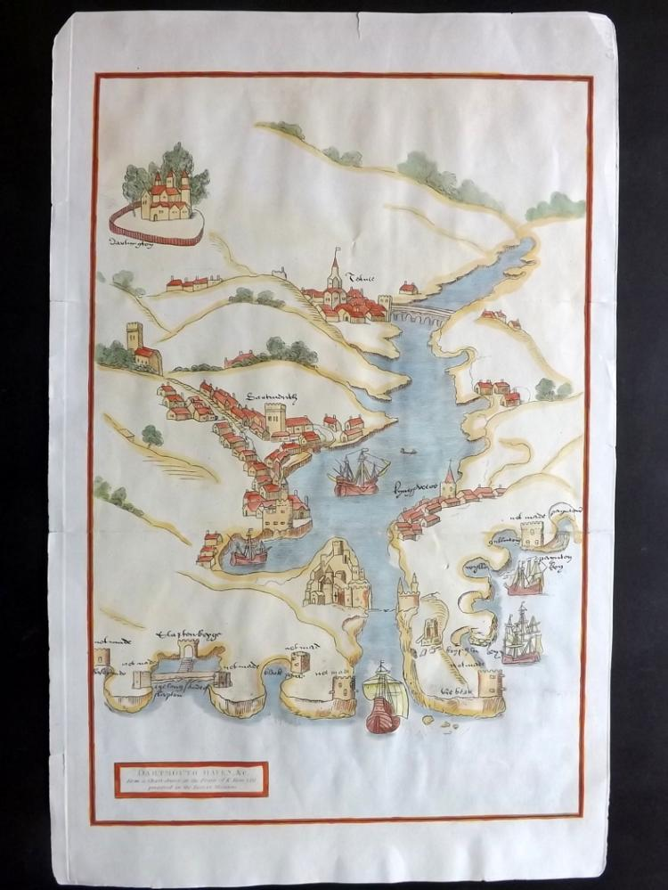 Devon 1810 Hand Coloured Map of Dartmouth Haven from Magna Britannia