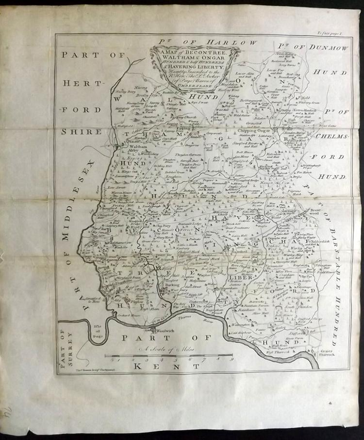 Essex - Bowen, Thomas & Emanuel 1768 Map of Becontree, Waltham & Ongar from Morant's Essex