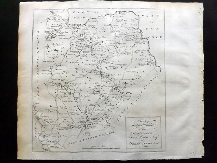 Essex - Bowen, Thomas & Emanuel 1768 Map of Hinckford from Morant's Essex