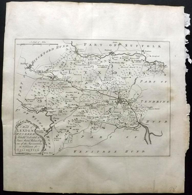 Essex - Bowen, Thomas & Emanuel 1768 Map of Lexden & Colchester from Morant's Essex