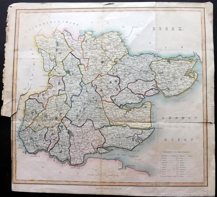 Essex 1834 Hand Coloured Map by James Bingley
