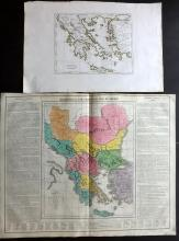 Greece C1807-21 Pair of Hand Coloured Maps by Barbiellini & Lavoisne
