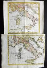 Italy C1760 Pair of Hand Coloured Copper Engraved Maps