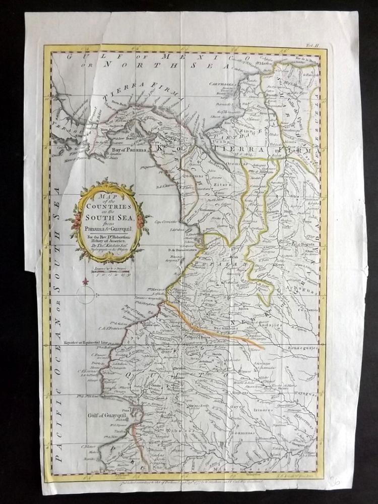 Kitchen, Thomas 1777 Hand Coloured Map of South America. Ecuador, Colombia etc