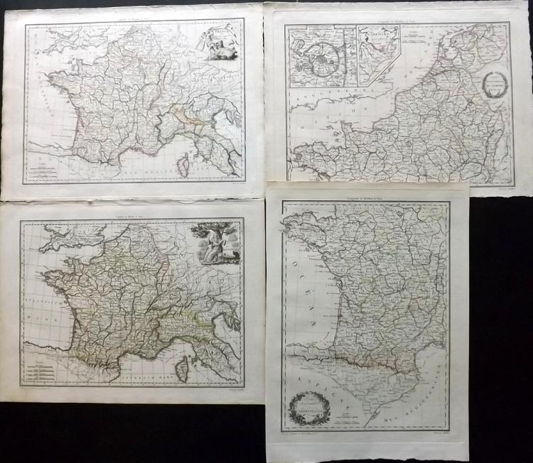 Malte-Brun, Conrad 1812 Group of 4 Maps of France