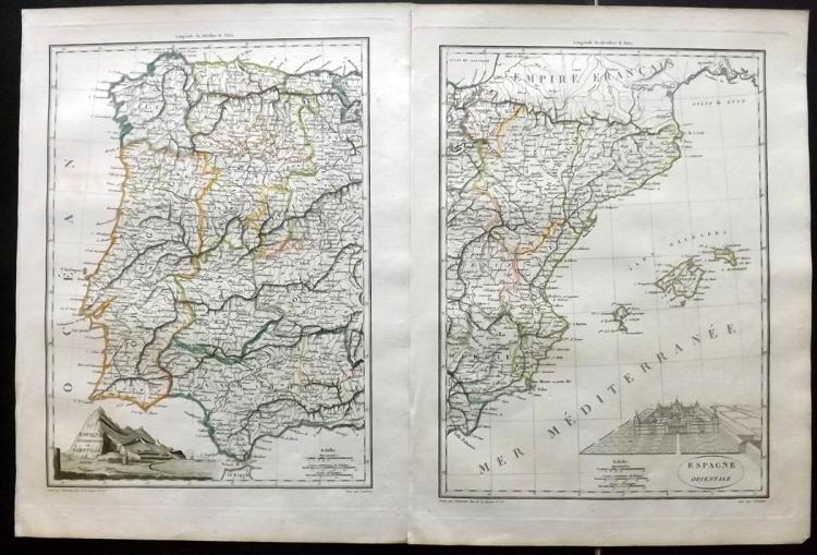 Malte-Brun, Conrad 1812 Pair of Maps of Spain