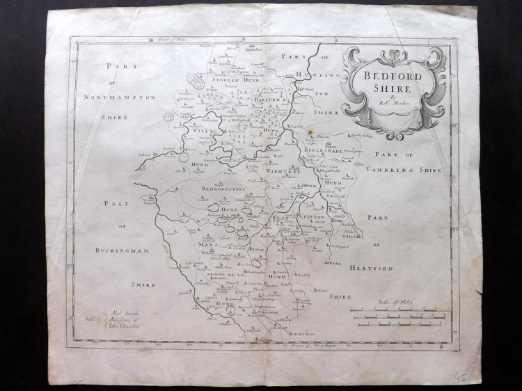 Morden, Robert C1695 Copper Engraved Map of Bedfordshire