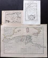 North Africa 1616-1780 Group of 3 Maps by Bertius, Bonne & Mallet