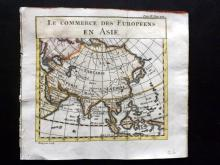 Pluche, Noel Antoine 1749 Hand Coloured Map of the Commerce of the Europeans in Asia