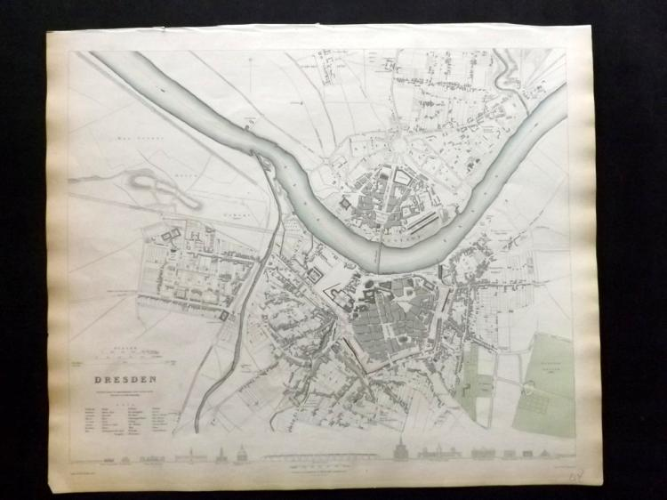 SDUK (Pub) 1833 Hand Coloured Town Plan Map of Dresden, Germany
