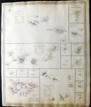 SDUK (Pub) 1836 Map of Islands in the Atlantic. Azores, Madeira, Canary Islands, Falklands