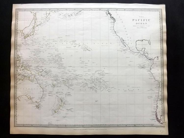 SDUK (Pub) 1840 Map of The Pacific Ocean. Australia etc
