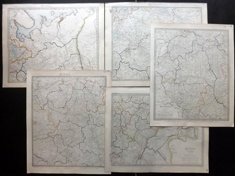 SDUK (Pub) C1840 Group of 5 Maps of Russia