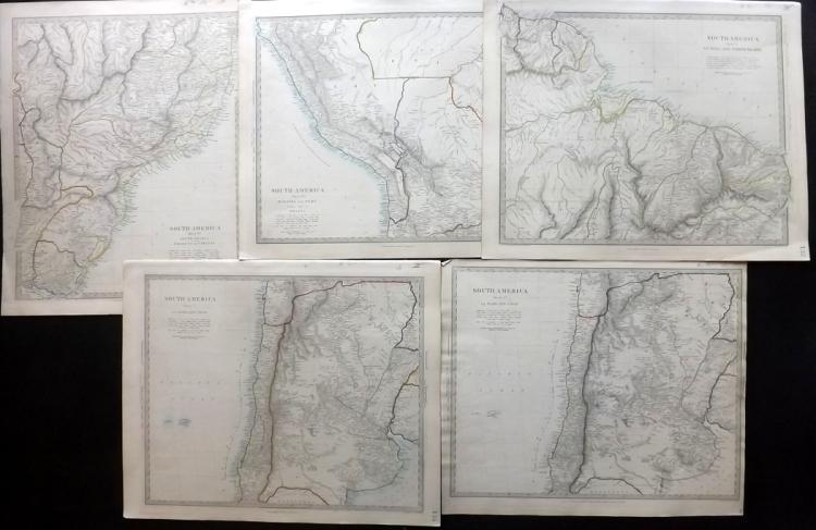 SDUK (Pub) C1840 Group of 5 Maps of South America. Brazil, Chile etc