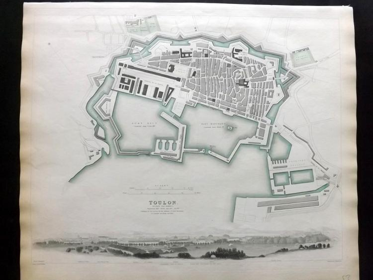SDUK (Pub) C1840 Hand Coloured Town Plan Map of Toulon, France