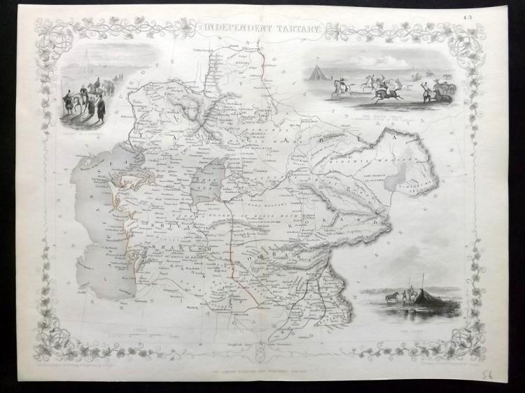 Tallis, John (Pub) 1852 Map of Independent Tartary