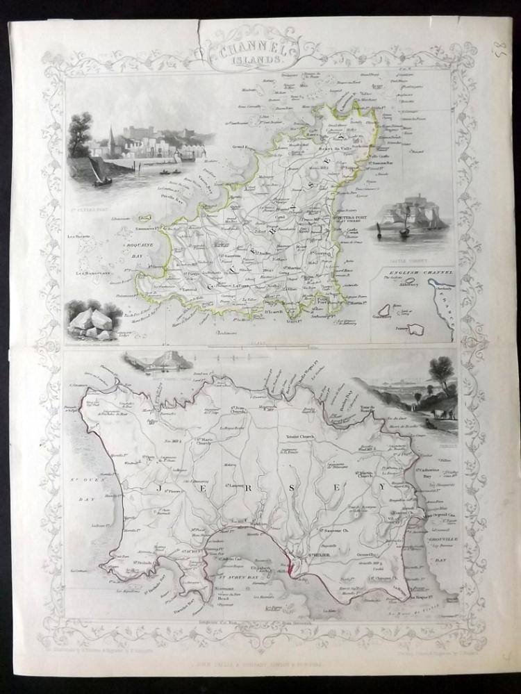 Tallis, John (Pub) 1852 Map of the Channel Islands. Guernsey & Jersey