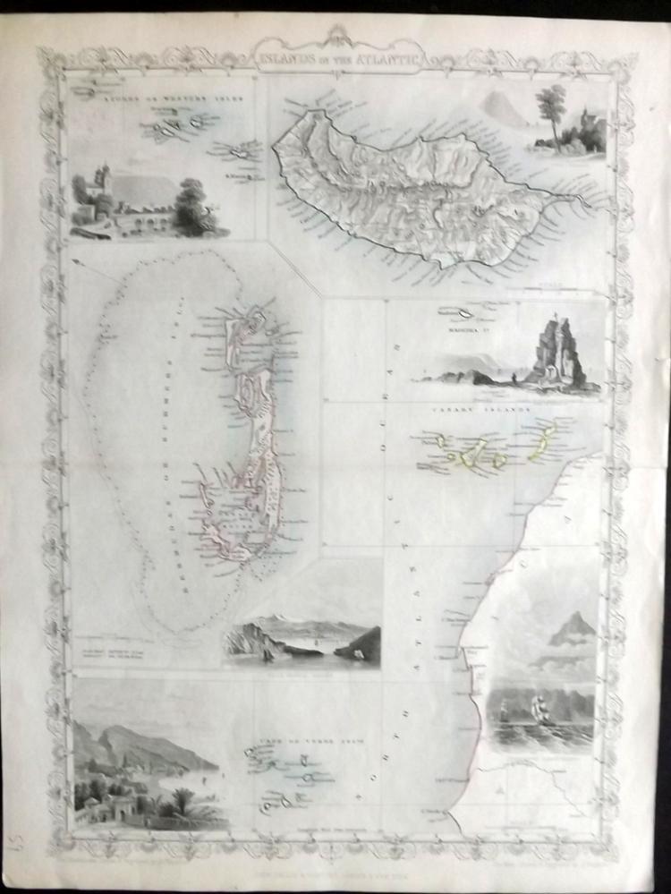 Tallis, John (Pub) 1852 Map of the Islands in the Atlantic. Azores, Bermuda, Madeira, Canary Islands, Cape Verde