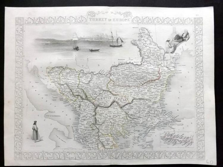 Tallis, John (Pub) 1852 Map of Turkey in Europe