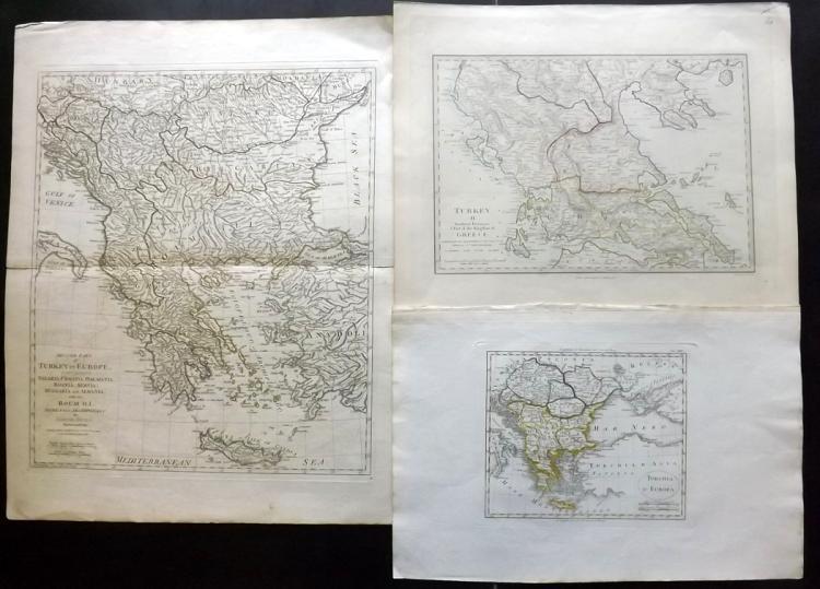 Turkey 1786-C1840 Group of 3 Maps by Samuel Dunn, Barbiellini & The SDUK